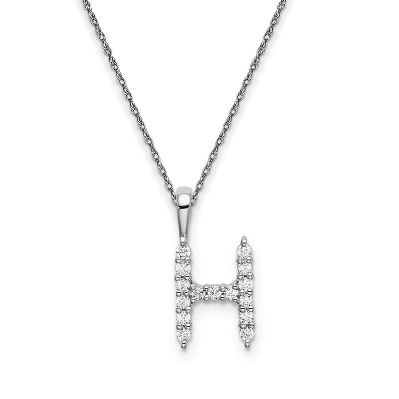 """Greenberg's 14k white gold initial """"H"""" pendant with chain"""