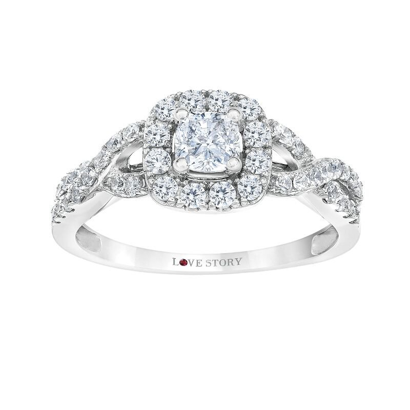 Love Story 14k white gold 3/8 cushion diamond bridal set