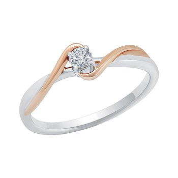 10k white and pink gold .12ctw heart promise ring