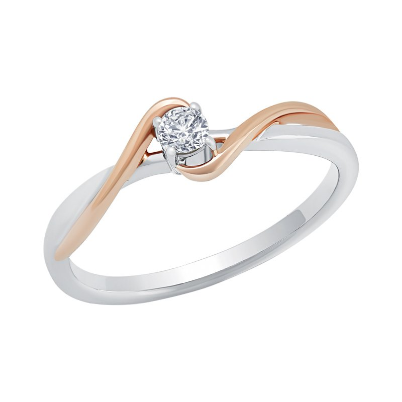 Greenberg's 10k white and pink gold .12ctw heart promise ring