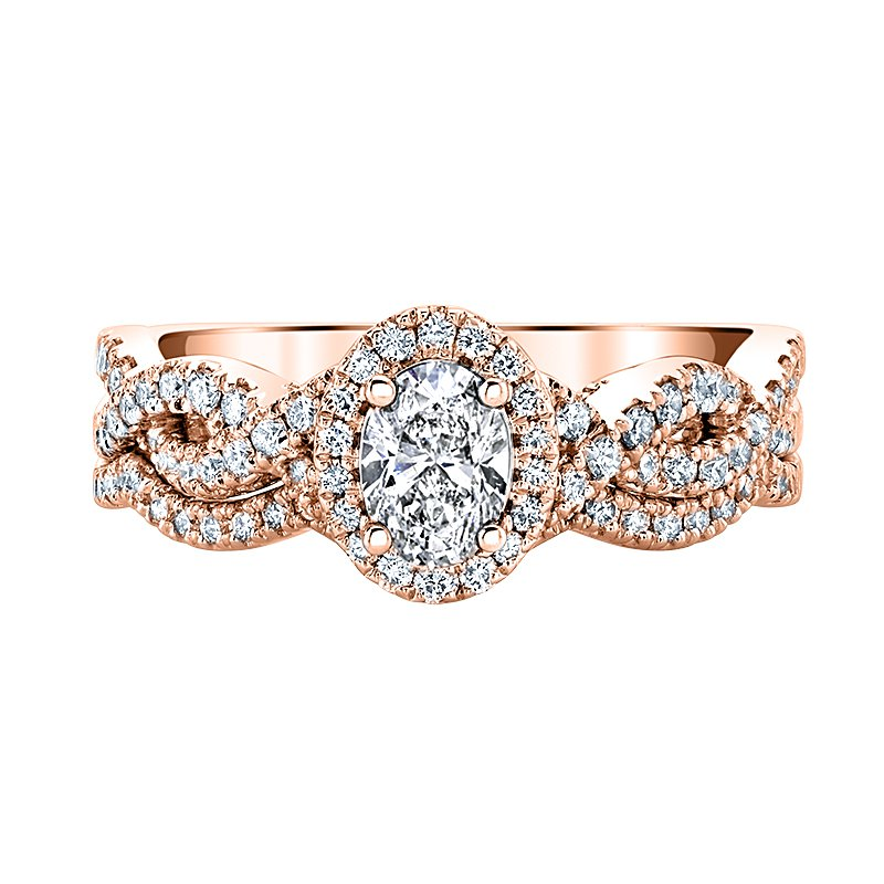 "Love Story 14k rose gold ""Annalise"" 1ctw 0.40ct oval diamond bridal set"