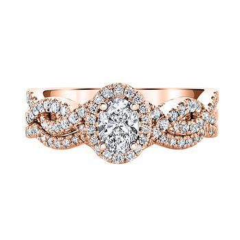 ANNALISE 14K ROSE GOLD 1ctw 0.40ct OVAL Center Diamond Bridal Set: Promise Collection by  Love Story®