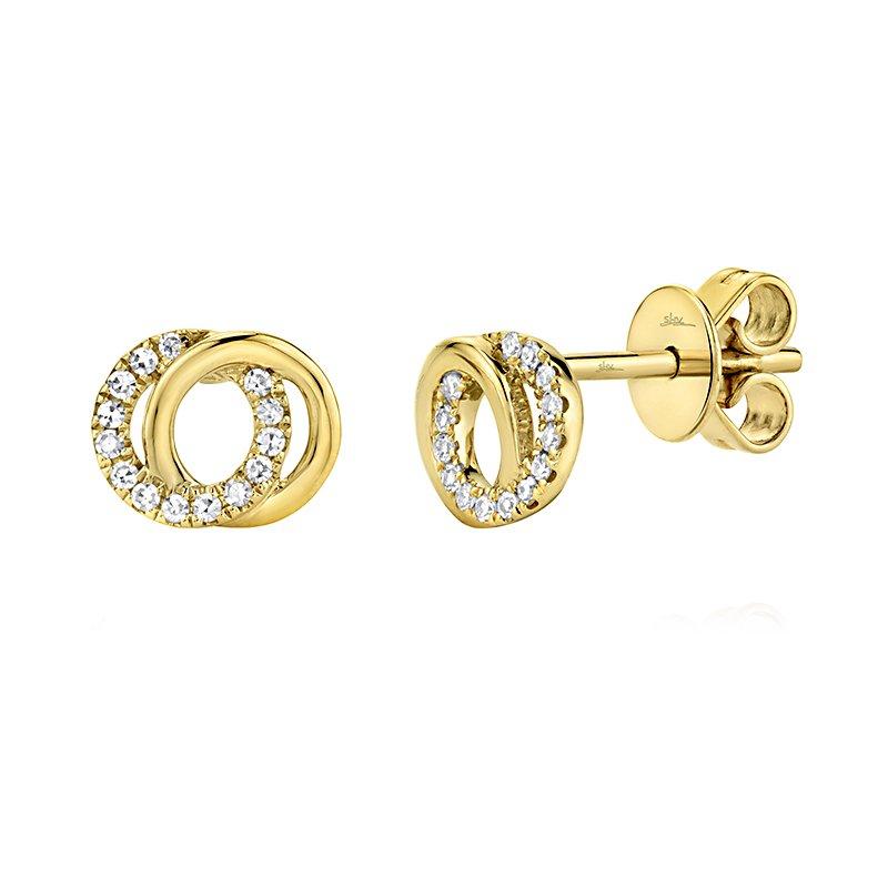Shy Creation 14K YG 0.09ctw Diamond Love Knot Circle Earrings