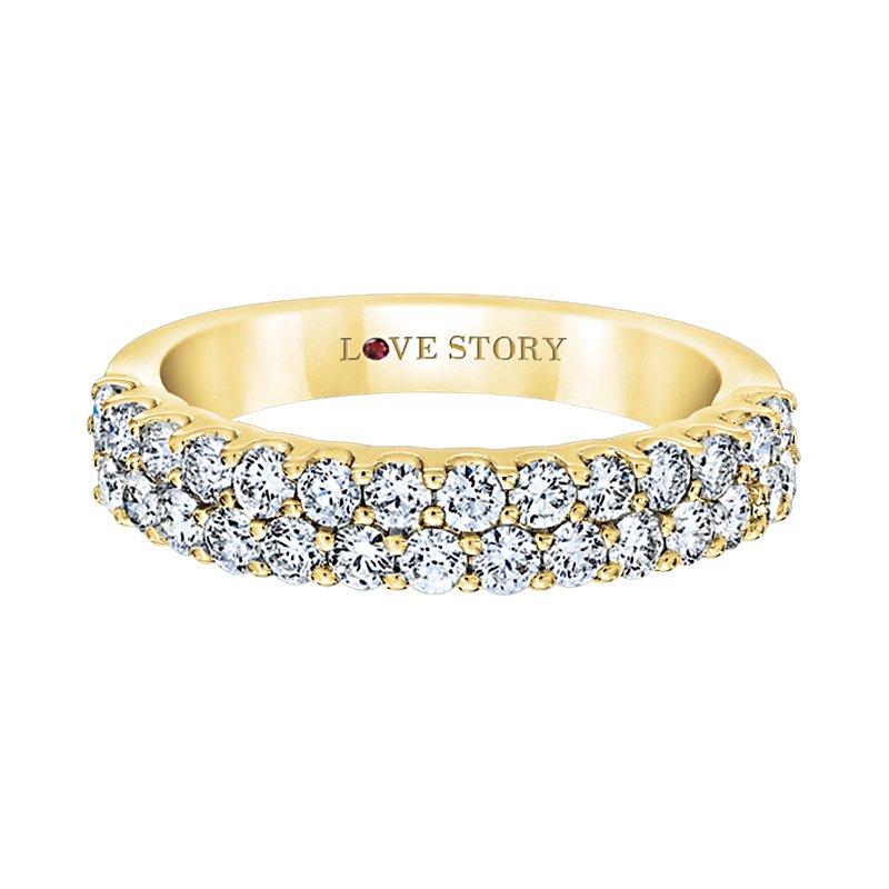 Love Story 14k yellow gold 1ctw diamond two-row band