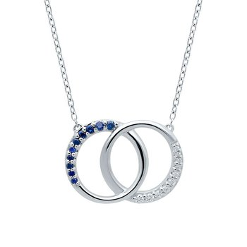 sterling silver diamond and sapphire double circle pendant