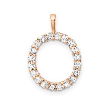 """14k rose gold initial """"O"""" pendant"""
