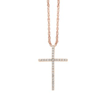 14k rose gold cross pendant
