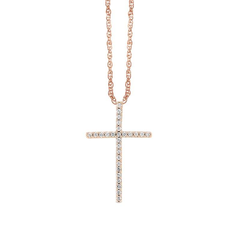 Greenberg's 14k rose gold cross pendant