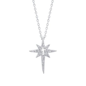 love star sterling silver north star with cross pendant