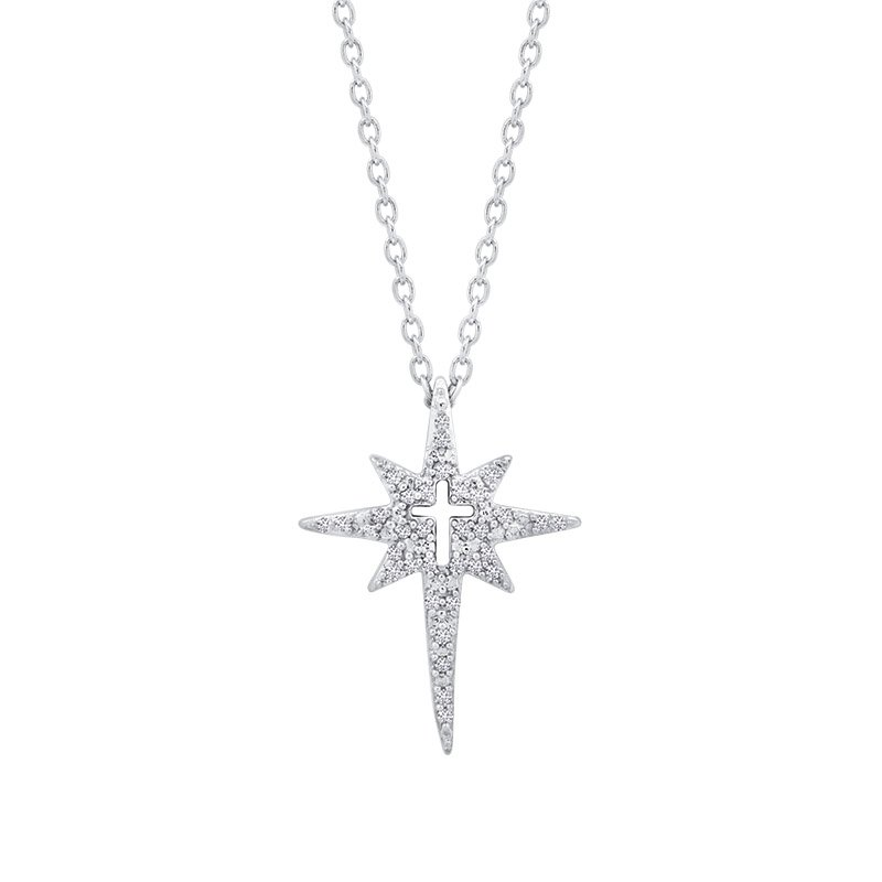 Greenberg's love star sterling silver north star with cross pendant