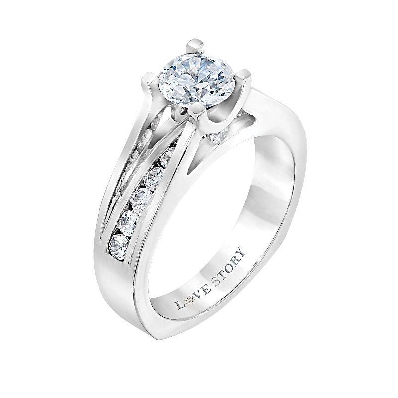 Love Story 14k white gold 1/2ctw semi-mount diamond engagement ring