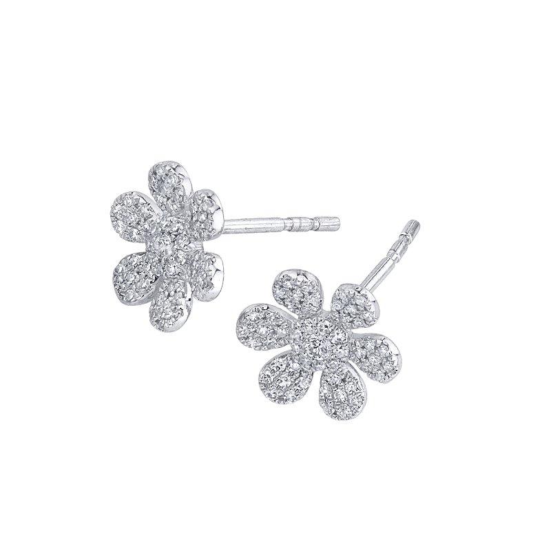Shy Creation 0.29CTW 14K W/G Flower Stud Earrings