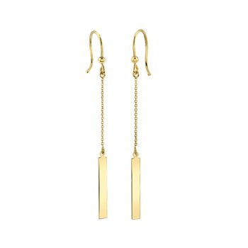 14k yellow gold bar drop earrings