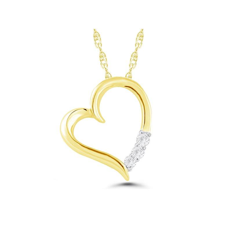 Greenberg's 10k yellow gold 3-stone heart pendant