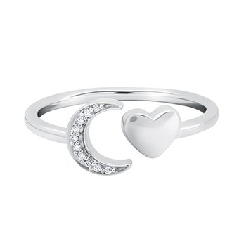 sterling silver crescent moon and heart love star ring