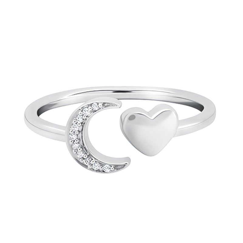 Greenberg's sterling silver crescent moon and heart love star ring