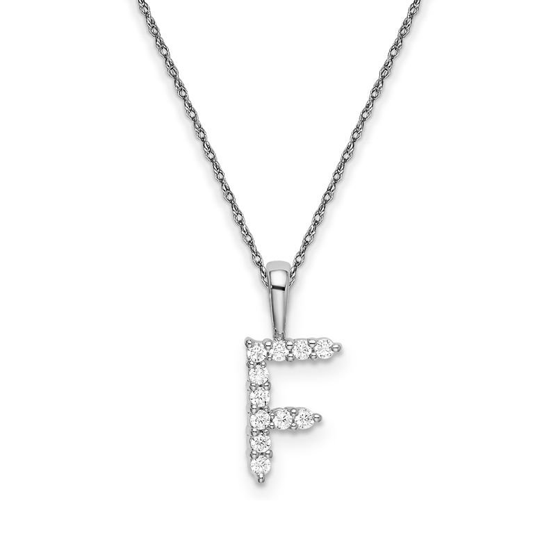 """Greenberg's 14k white gold initial """"F"""" pendant with chain"""