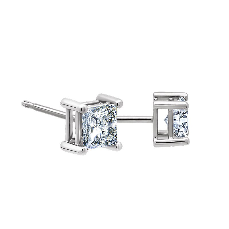 Greenberg's 1/4ct princess cut diamond stud earrings