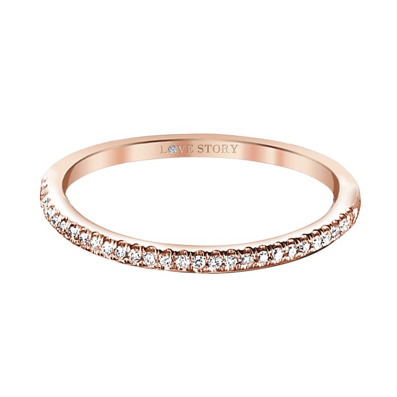 Love Story 14k rose gold .12ctw diamond wedding band