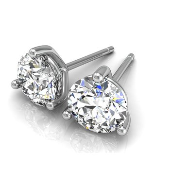 1 1/4ct round stud diamond earrings