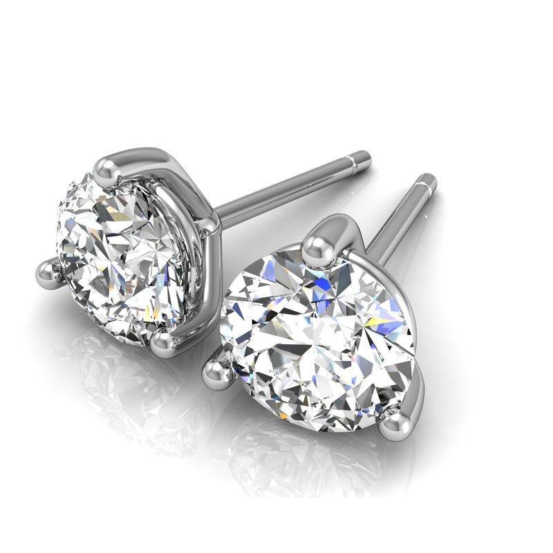 Greenberg's 14k white gold 1-1/4ct round stud diamond earrings