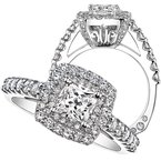 Amy Greenberg Collection 18k white gold .95ctw semi mount diamond engagement ring