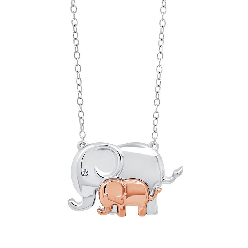 Greenberg's Sterling silver origami elephant necklace