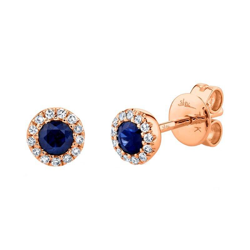 Shy Creation .08CTW 14 K/R Blue Sapphire Diamond Earring