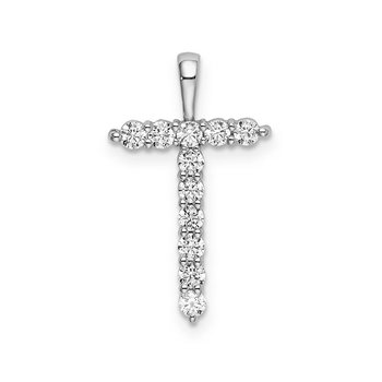 "14k white gold initial ""T"" pendant"