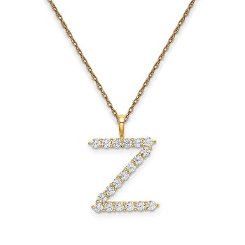 """14k yellow gold initial """"Z"""" pendant with chain"""