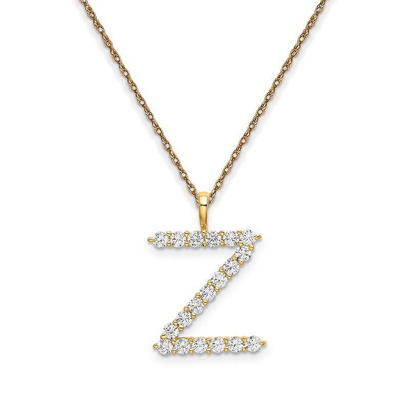 """Greenberg's 14k yellow gold initial """"Z"""" pendant with chain"""