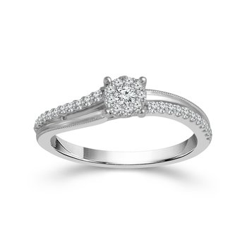 10 karat white gold diamond promise ring