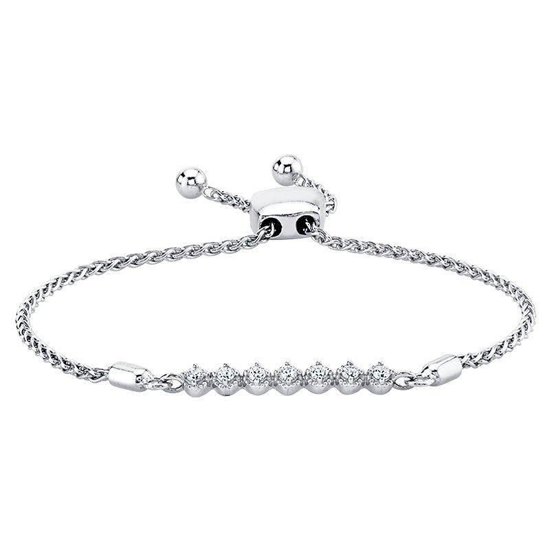 Greenberg's 14k white gold 0.15ctw seven diamond halo style bracelet