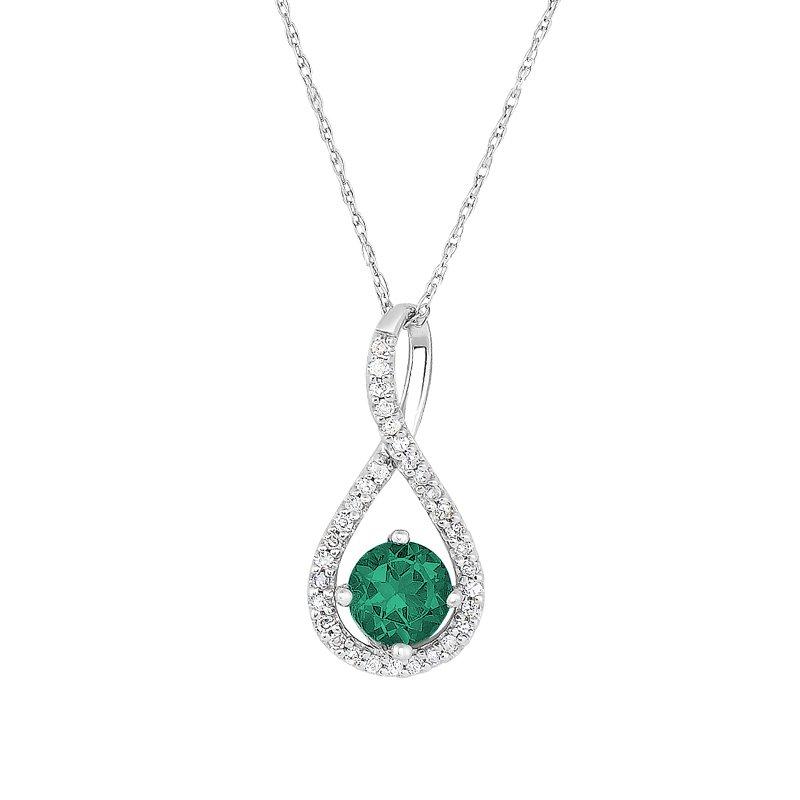 Greenberg's sterling silver .10ctw emerald swirl pendant