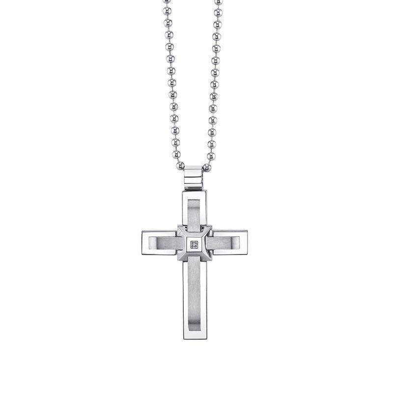 Greenberg's stainless steal men's cross pendant