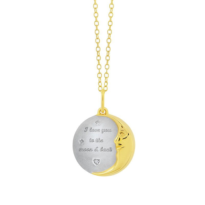 Greenberg's sterling silver with yellow micron plated moon pendant
