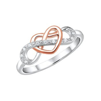 Sterling silver with pink micron plating infinity symbol ring