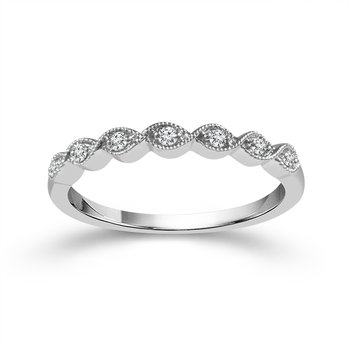 14k white gold diamond stackable anniversary band