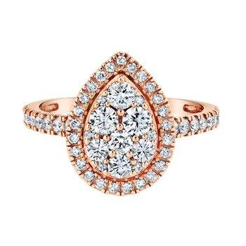 10K RG 1.00ctw Pear Cluster Center Diamond Engagement Ring