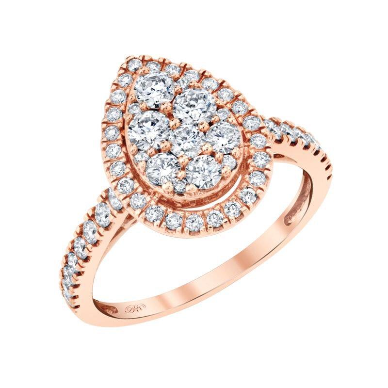Beautiful Bride 10K RG 1.00ctw Pear Cluster Center Diamond Engagement Ring