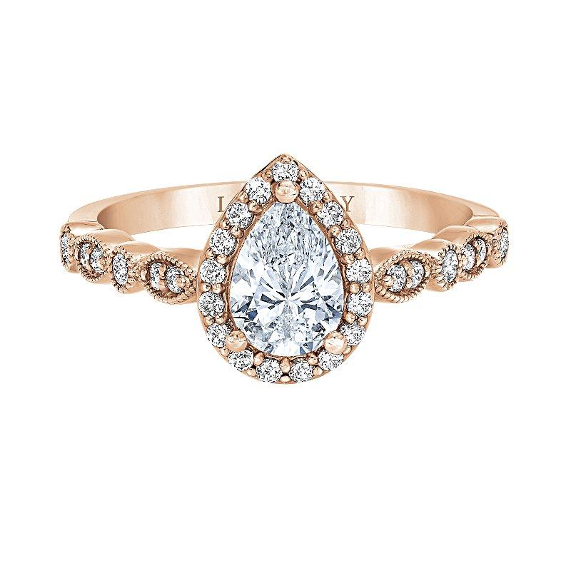 Love Story 14k rose gold 1/4ctw pear-shaped semi-mount diamond engagement ring