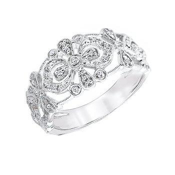sterling silver 1/8ctw diamond fashion ring