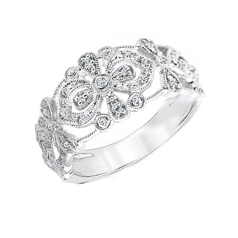 Greenberg's sterling silver 1/8ctw diamond fashion ring