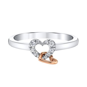 10k white and pink gold double heart ring