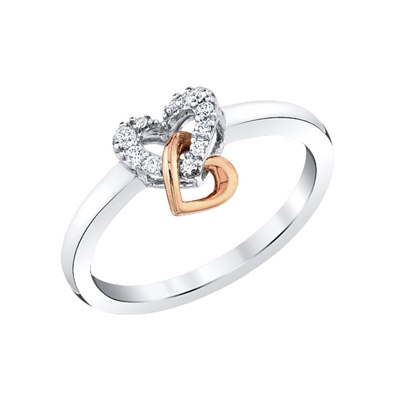Greenberg's 10k white and pink gold double heart ring