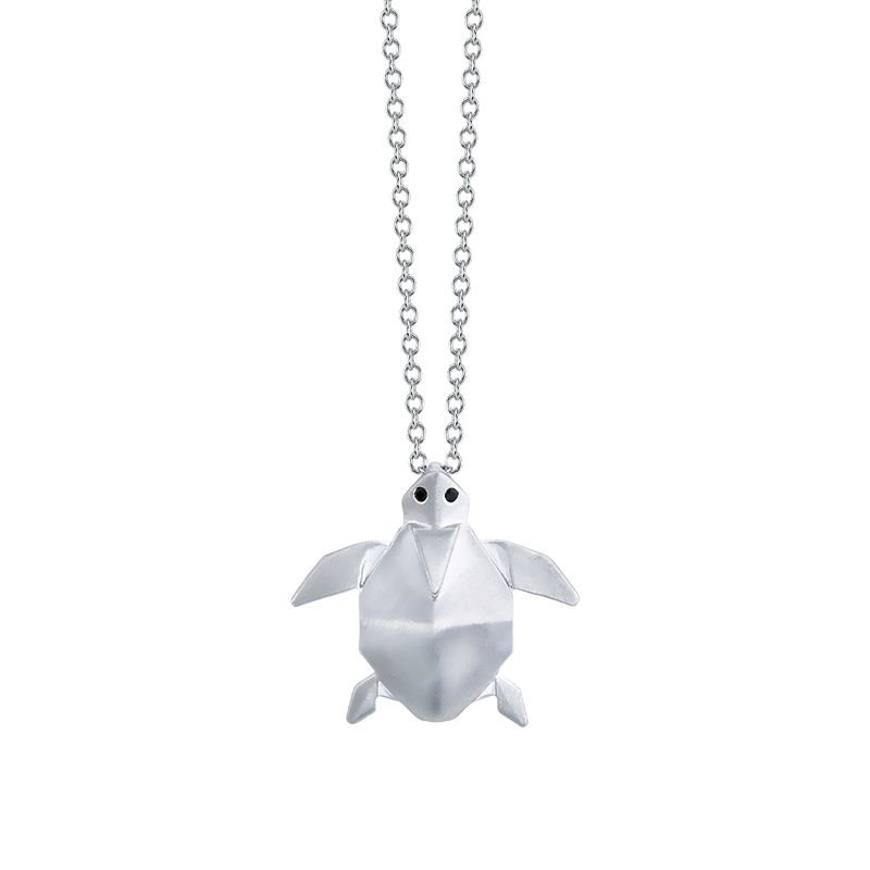 Greenberg's sterling silver origami turtle pendant