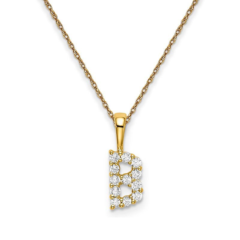 """Greenberg's 14k yellow gold initial """"B"""" pendant with chain"""