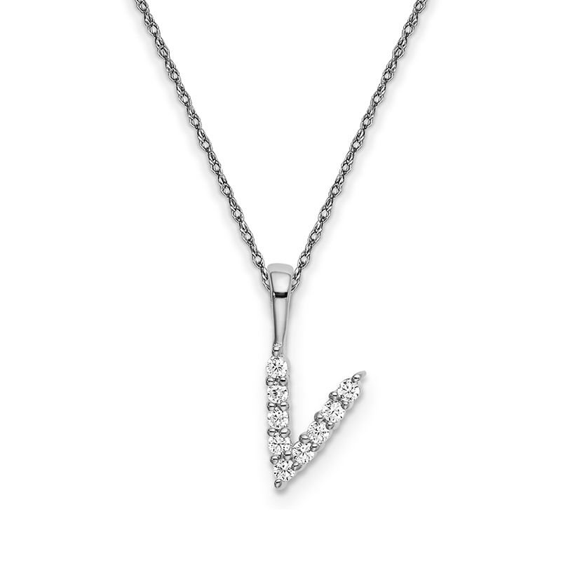"""Greenberg's 14k white gold """"v"""" initial pendant with chain"""