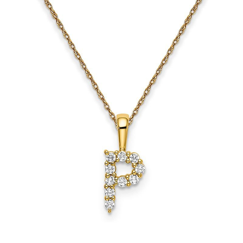 """Greenberg's 14k yellow gold initial """"P"""" pendant with chain"""