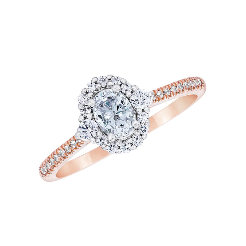 Love Story 14k white and rose gold 5/8ctw 3/8 oval-shaped diamond engagement ring